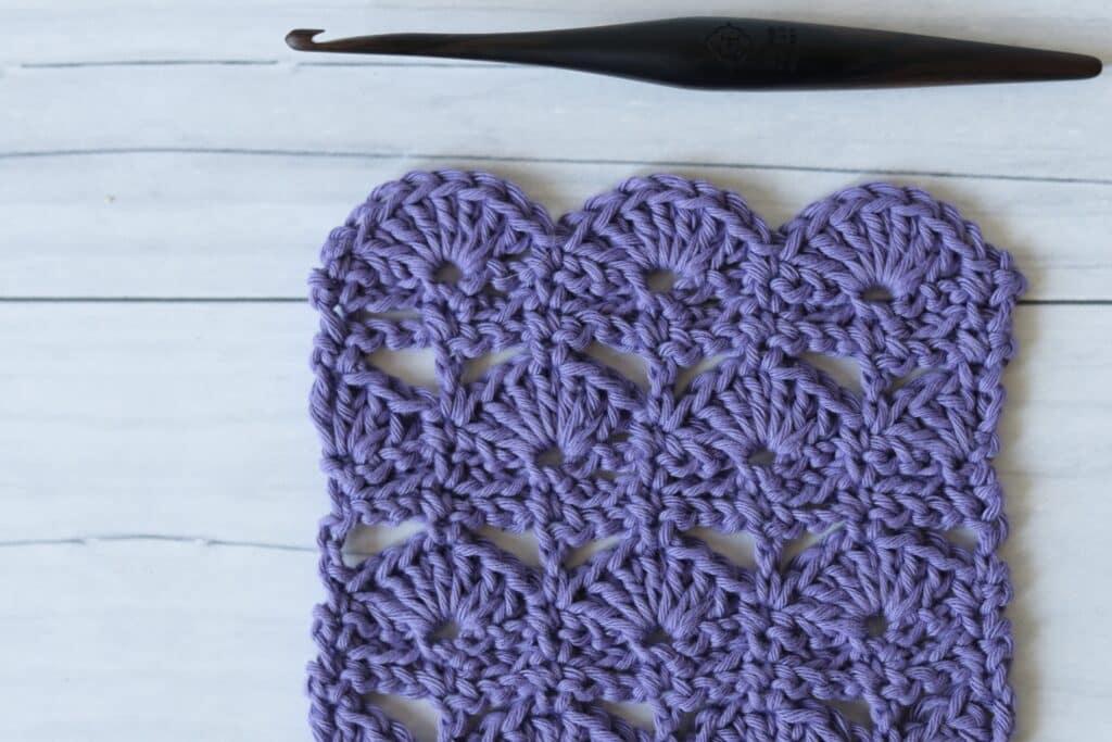 dock leaf crochet swatch and wooden crochet hook