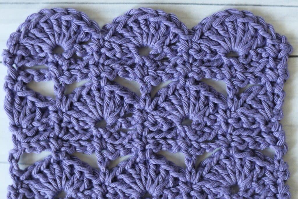 dock leaf shell crochet stitch in purple