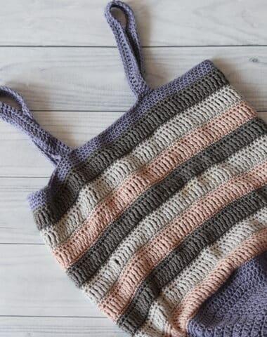 a crochet market bag in