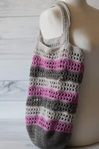 Crochet Market Bag in dark grey purple and light grey