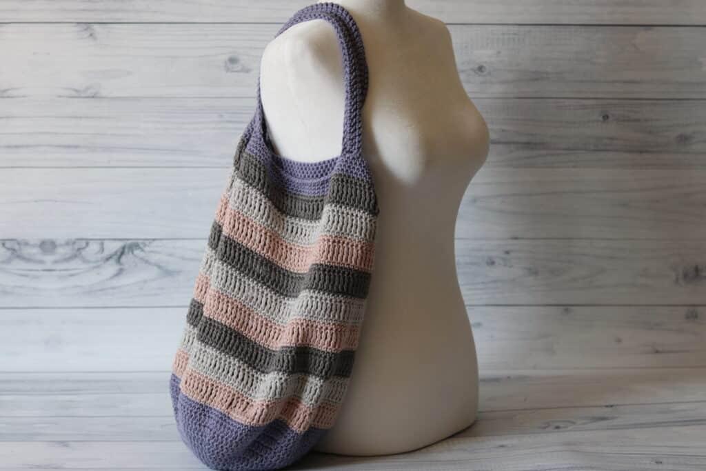 Crochet Market Bag in pink grey and purple