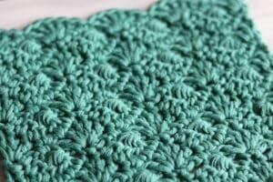 close up of the interlocking shell crochet stitch
