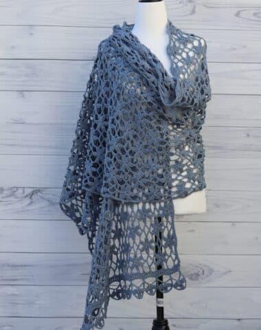 blue flower lace crochet shawl