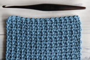 Swatch of the single crochet mesh stitch