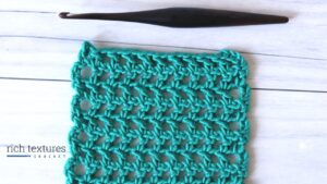 Swatch of the double crochet mesh stitch