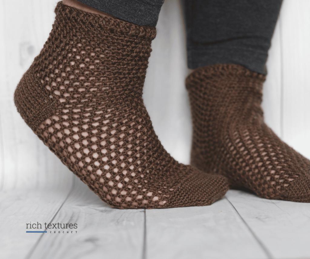 brown lacy crochet socks