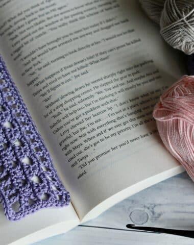 purple lace crochet bookmark