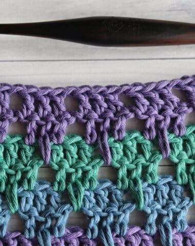 Larksfoot crochet stitch in purple green and blue