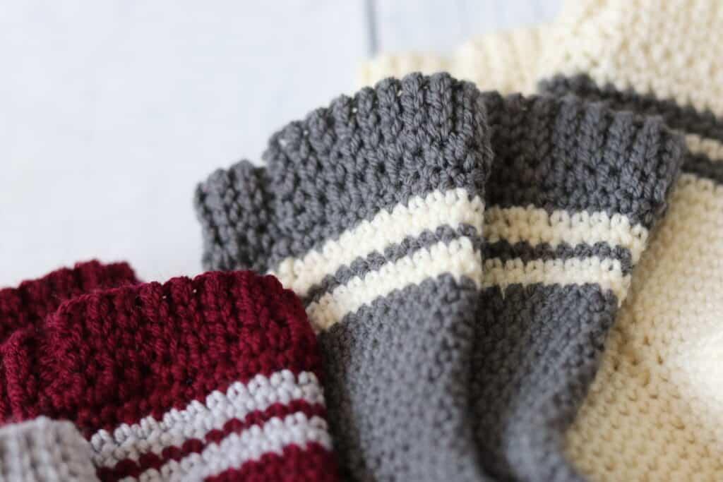 close up of the cuff on crochet socks