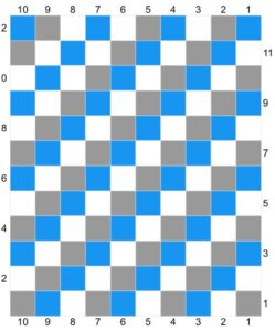 A blue grey and white checkered chart for crochet blanket