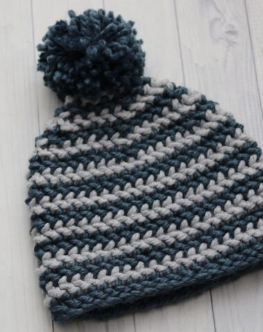 blue and grey stripped crochet beanie hat