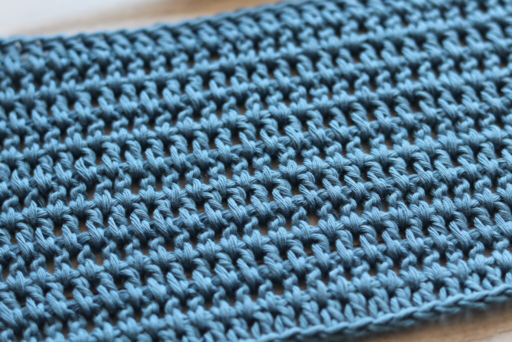 A blue swatch of the wide Double Crochet Stitch