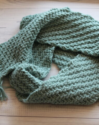 textured crochet scarf in teal yarn