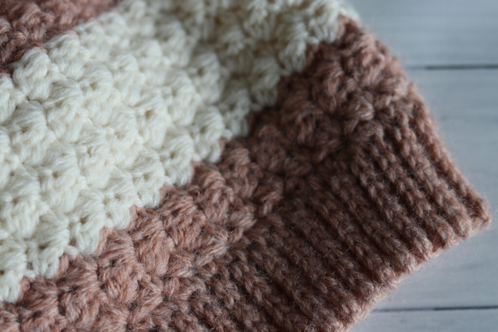 close up of the ribbed stitches brim on a crochet hat