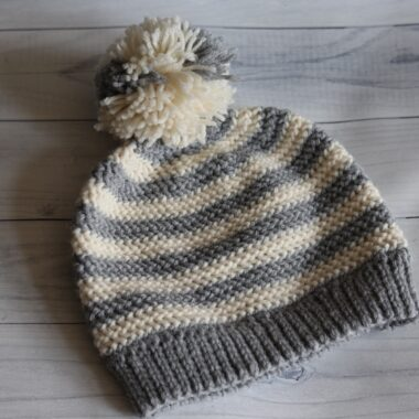 grey and white stripped crochet beanie